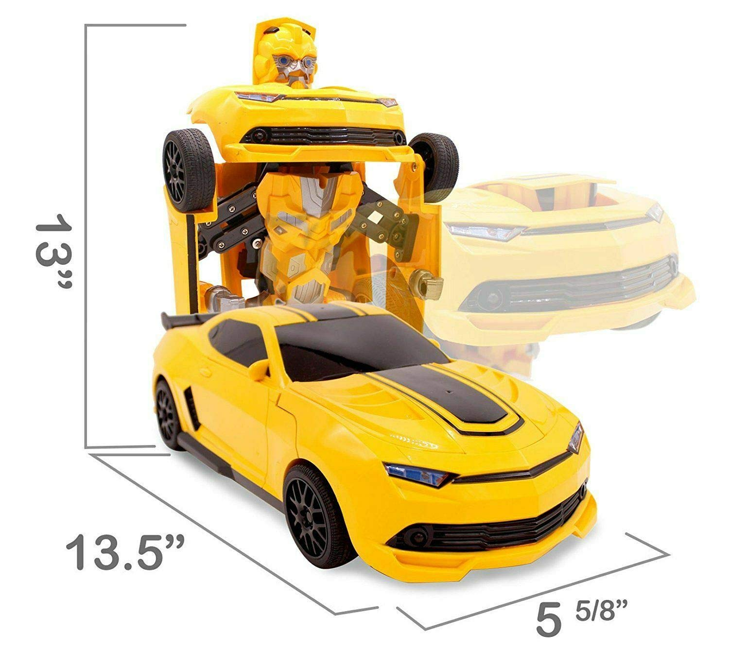 Kids RC Toy Sports Car Transforming Robot Remote Control with One Button Transformation, Realistic Engine Sounds, 360 Speed Drifting, Sword and Shield Included Toys For Boys 1:14 Scale Yellow by Transformania Toys (Image #5)