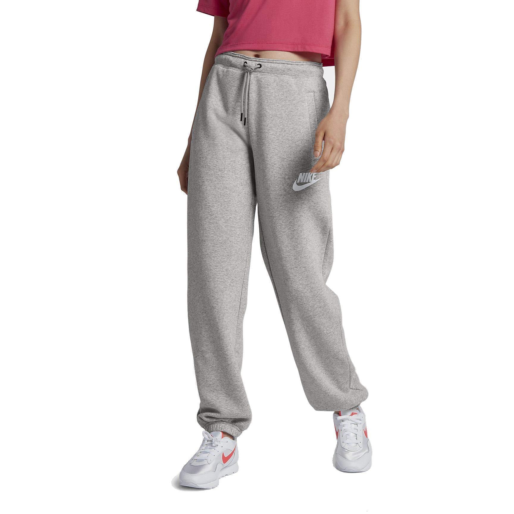 Nike Sportswear Rally Loose Women's Fleece Pants (Grey Heather/Pale Grey/White, Medium)