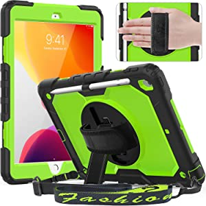 Timecity iPad 10.2 Case 2020/2019 (iPad 8th/ 7th Generation Case) with Screen Protector Pencil Holder Rotating Kickstand Hand/Shoulder Strap.Durable Protective Cover for iPad 10.2 inch-Black+Green