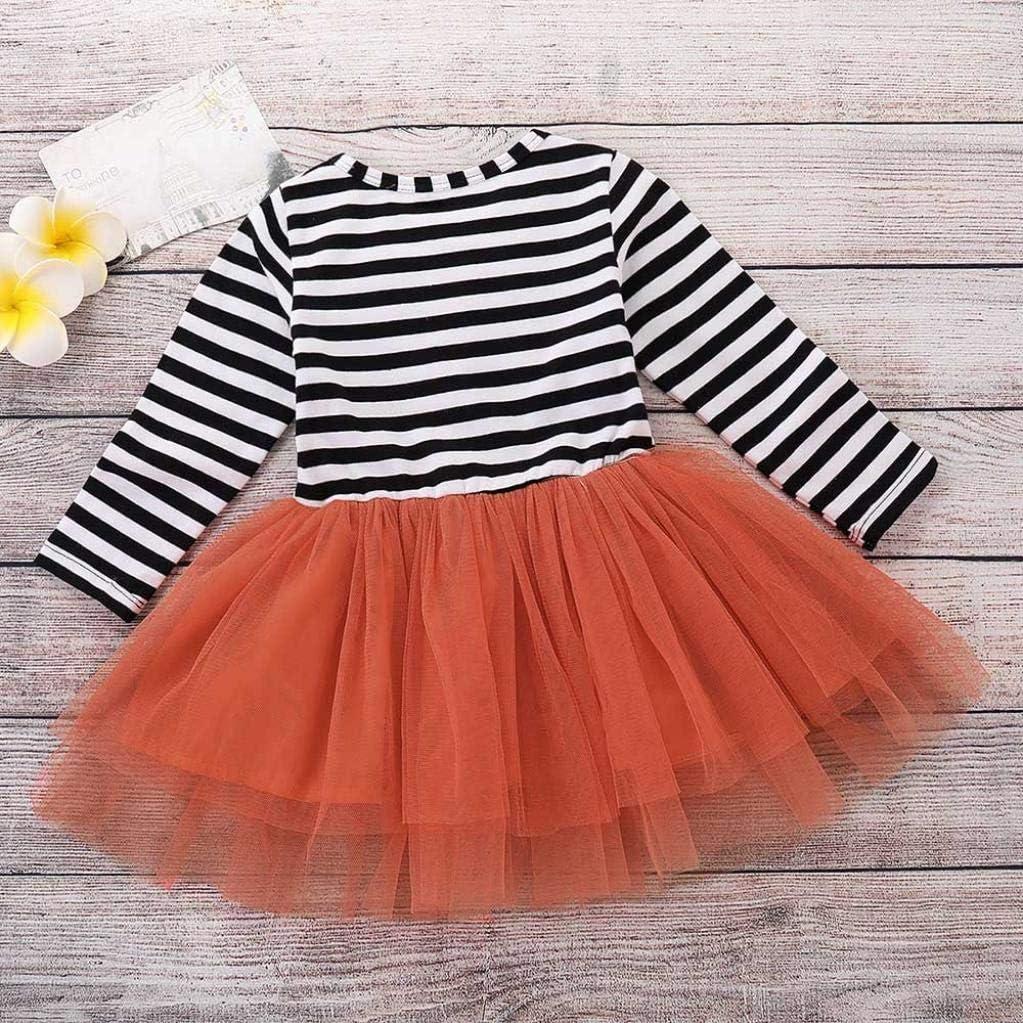 Veepola 3 Pcs Baby Girls Pumpkin Print Dress Outfits Halloween Costume Sets