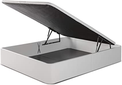 marckonfort Canapé abatible Space 90X190 tapizado con Piel sintética Blanco, Gran Capacidad 36 cm Altura Total y 29 cm Altura Interna