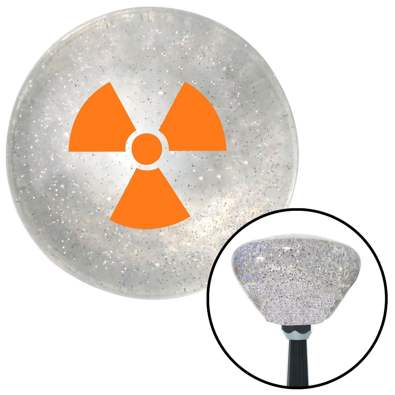 Orange Nuclear Hazard Symbol American Shifter 162696 Clear Retro Metal Flake Shift Knob with M16 x 1.5 Insert