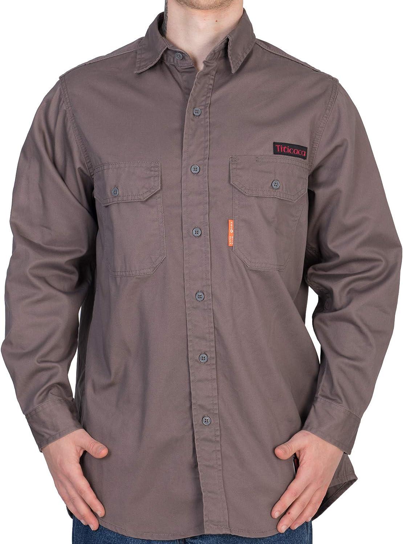 Titicaca FR Camisa de uniforme gris resistente al fuego para hombre de algodón 7.5 oz ligero de manga larga - Gris - 5X-Large: Amazon.es: Ropa y accesorios