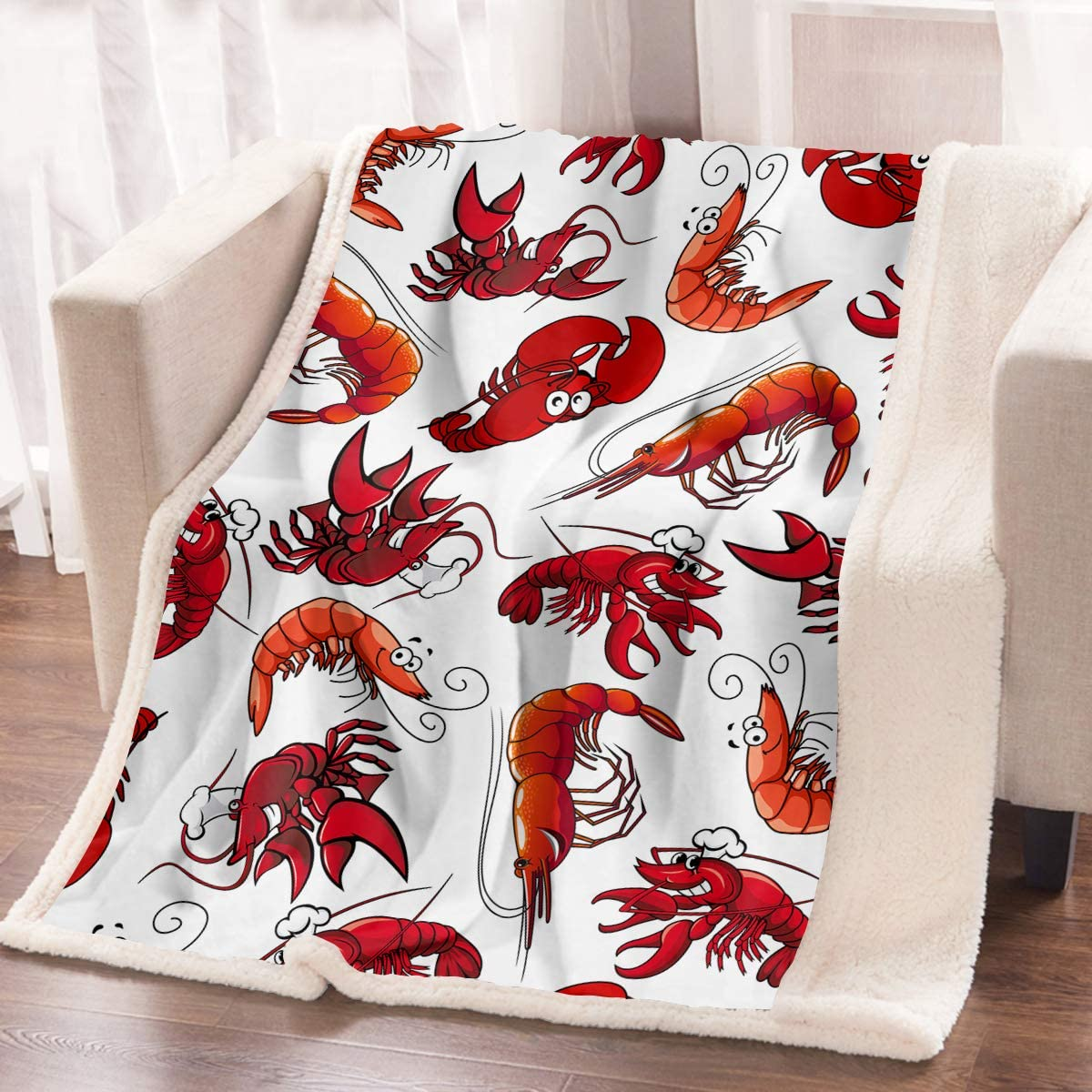 ARIGHTEX Funny Lobster Throw Blanket 3D Crawfish Prawn Red Shrimps Blankets Decorative Marine Seafood Fleece Blanket for Kids Adult Teen (60 x 80 Inches)
