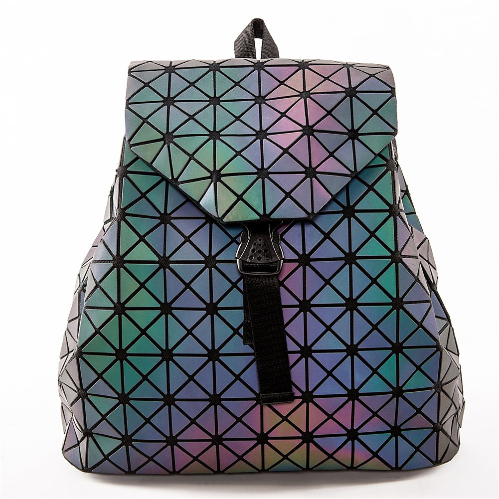 HotOne Geometric Luminous Purses and Handbags Shard Lattice Eco-friendly Leather Holographic Purse (Luminous Backpack)