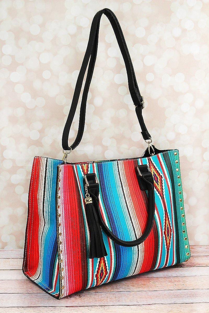 Amazon.com  NGIL Western Southwest Serape Faux Leather 2 in 1 Studded  Satchel Handbag Tassel  Shoes 94b6e5699b944