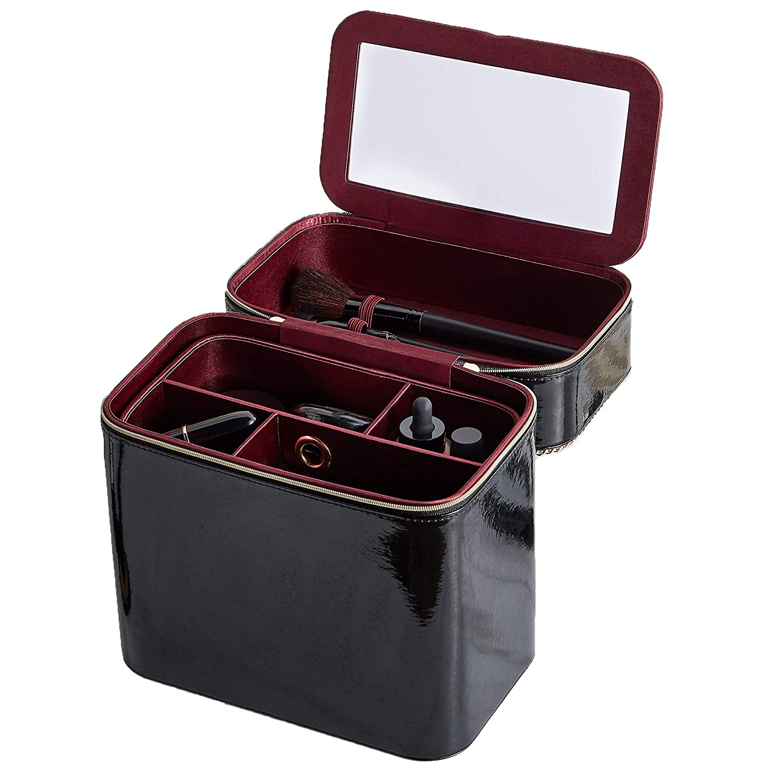 Beautify Black Faux Patent Leather Make Up Carry Case/Bucket Bag With Flip Up Mirror, Removable Trays & Elasticated Brush Holders – For Jewellery, Beauty, Cosmetics & More – Ideal For Travel/Gift Cosmetics & More - Ideal For Travel/Gift