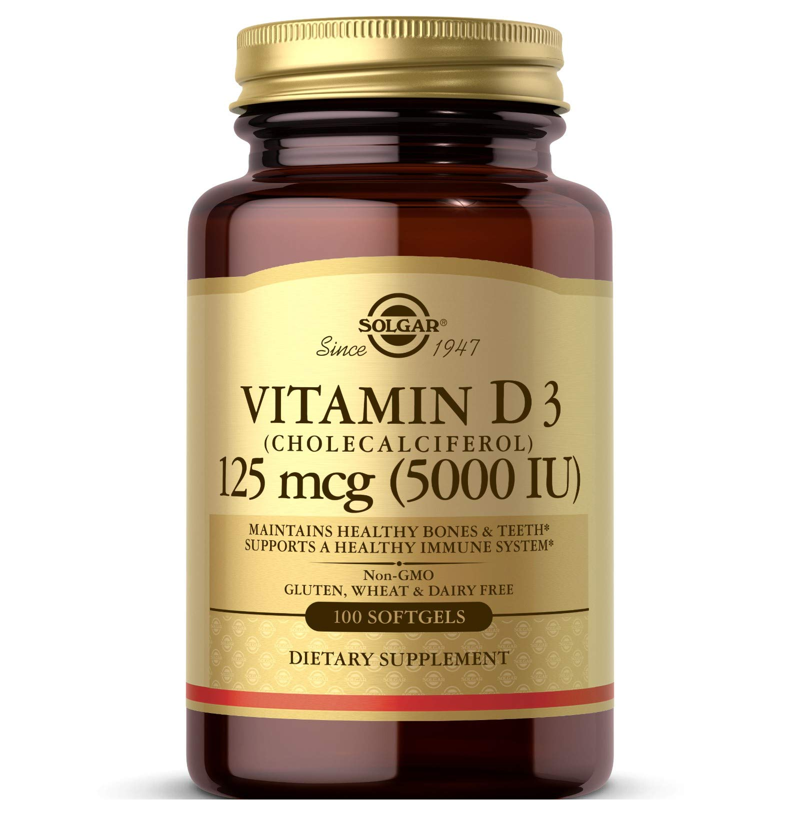 Solgar Vitamin D3 (Cholecalciferol) 125 MCG (5000 IU), 100 Softgels - Helps Maintain Healthy Bones & Teeth - Immune System Support - Non GMO, Gluten Free, Dairy Free - 100 Servings