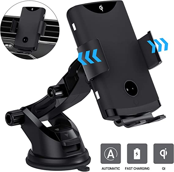 Samsung S10//S10+//S9//S9+//S8//S8+ HX Studio Wireless Car Charger,10W Qi Fast Charging Car Charger Mount Phone Holder Automatic Clamping,Compatible with iPhone Xs MAX//XS//XR//X//8//8+