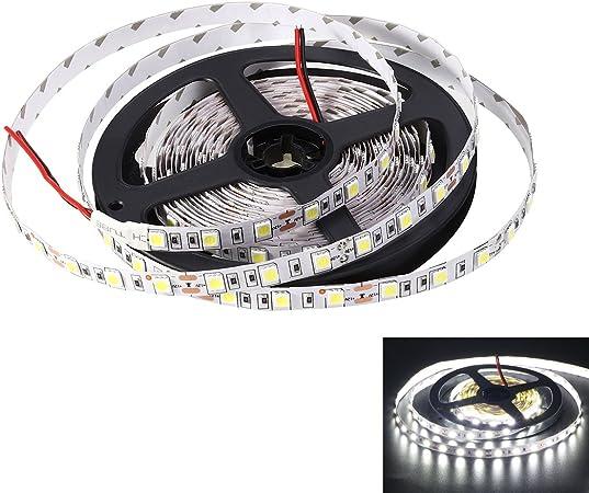 White 5M Light SMD 5050 Strip Flexible 300 LED Lamp Pure DC 12V TV Backlight
