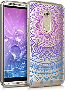 kwmobile Clear Case Compatible with ZTE Axon 7 - TPU Smartphone Backcover - Indian Sun Blue/Dark Pink/Transparent
