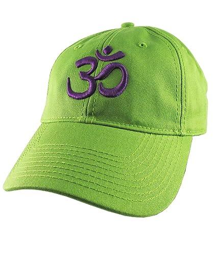 49fbdaa8f4f3f Amazon.com  OM Spiritual Symbol Yoga Lifestyle 3D Puff Purple Embroidery  Design on an Adjustable Lime Green Unstructured Baseball Cap Dad Hat   Handmade