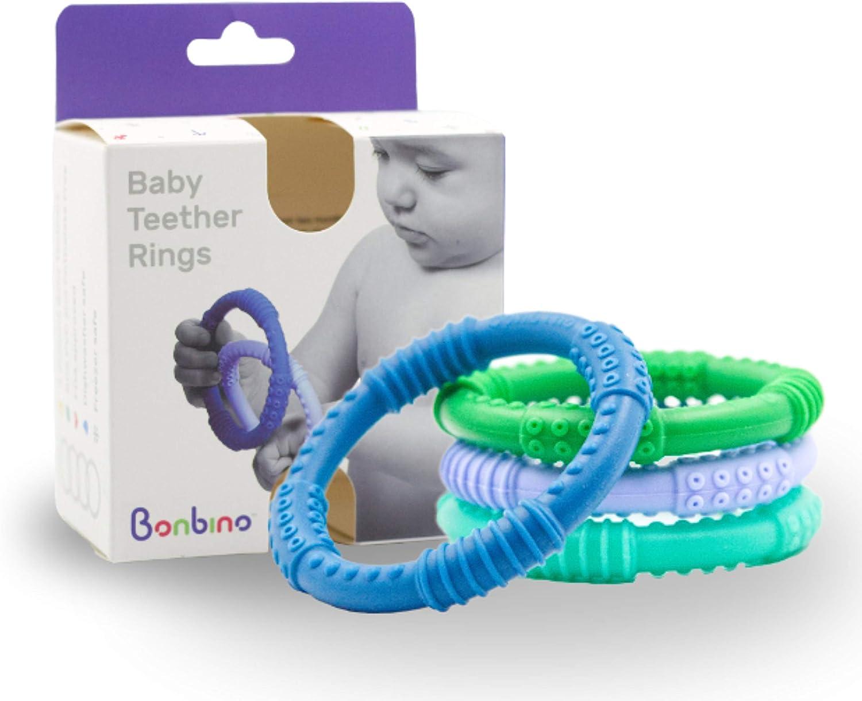 El mejor morderdor para bebé – 4 juguetes de aro sensoriales para morder – Juguete infantil a prueba de babas que calma y alivia el dolor: Amazon.es: Bebé