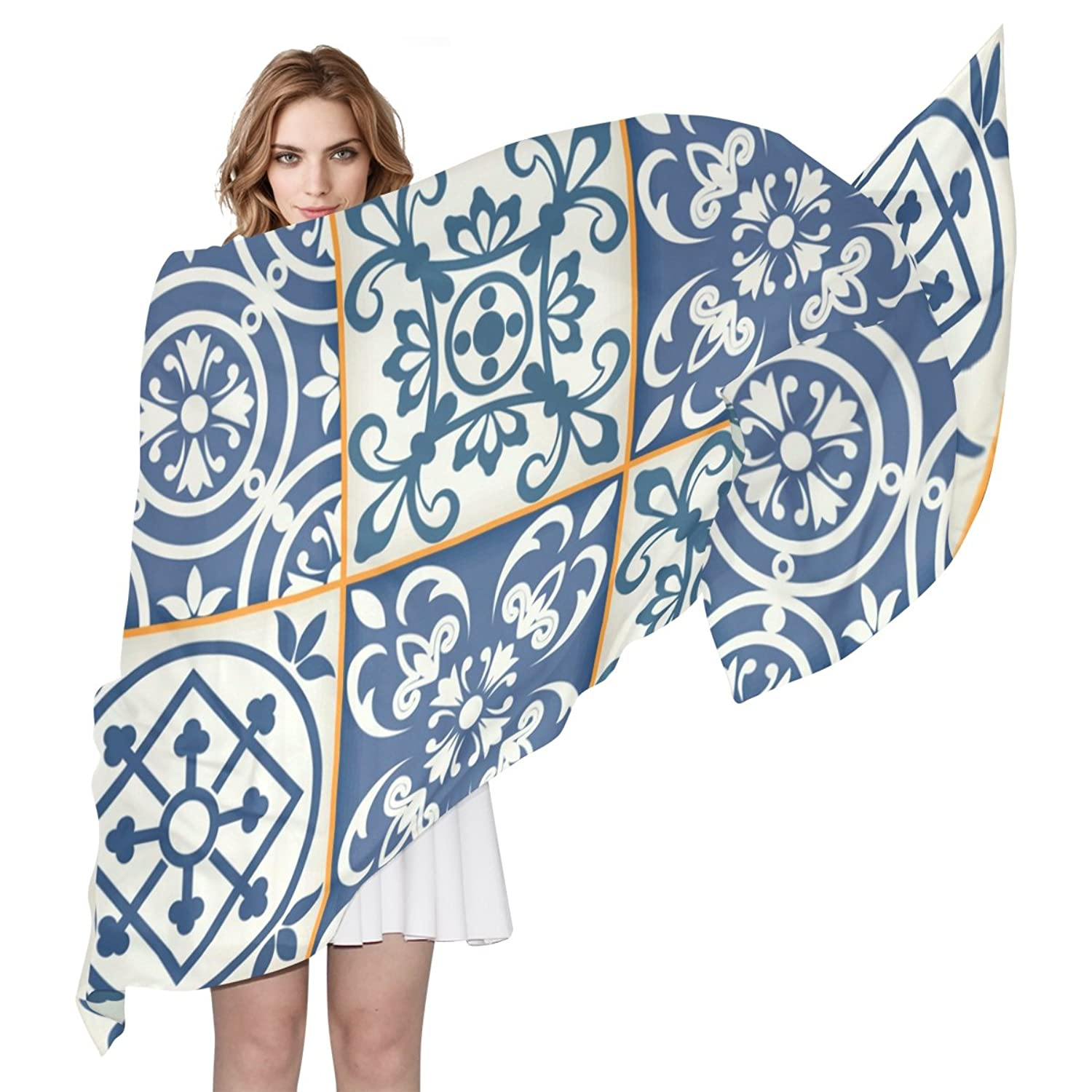 WDYSECRET Blue And White pattern Silk Printing Scarves for Women 70.86x35.4(in)