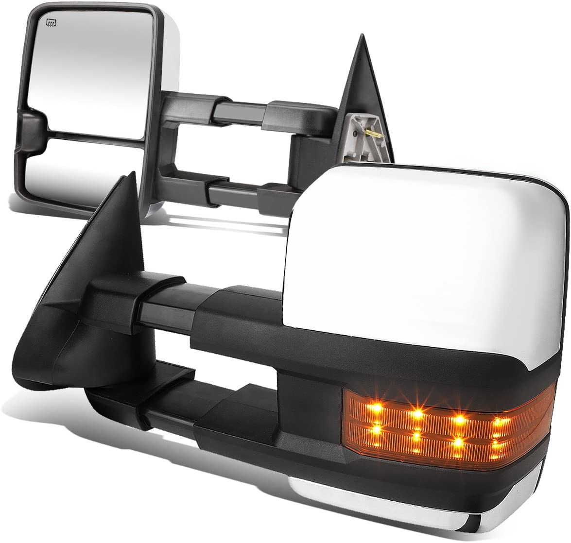 Driver And Passenger Sides DNA MOTORING TWM-015-T999-CH-AM Pair Of Towing Side Mirrors