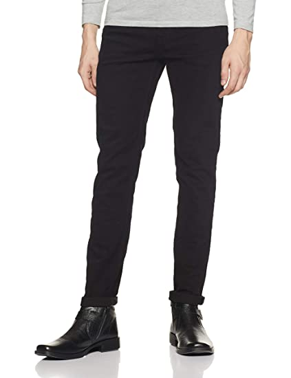 United Colors of Benetton Men s Tapered Fit Jeans (18A4L23R9164I Black 28W  x ... f06d6cc38a52