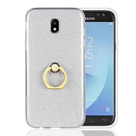 Funluna Galaxy J5 2017 Funda Dedo, Carcasa de Glitter Bling Silicona con 360 Grados Rotating Soporte Anti-Gota Anillo Bumper Case para Samsung Galaxy ...