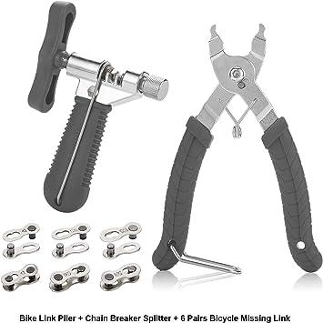 Bike Link Alicates + Medidor de desgaste de la cadena + 6 pares de ...