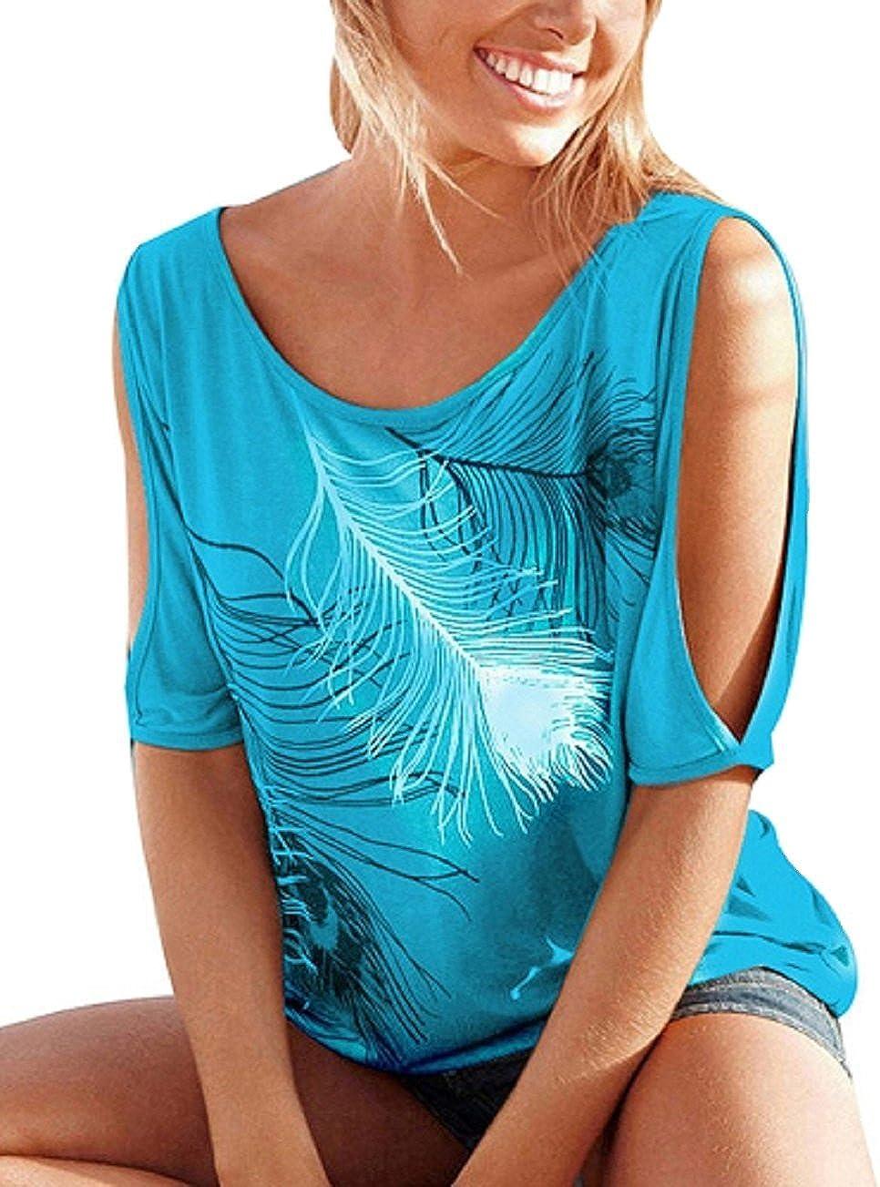 Landove T-shirt Epaule Denudee Femme Mode Casual Haut Col Rond Chemise Manches Courtes Tunique Imprim/é Plume Blouse Grande Taille Pull Sweat Top de Sport Ete S-XXL