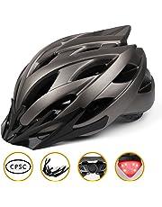 Shinmax Casco Bicicleta con Luz LED,Certificado CE,Casco de Ciclismo con Visera