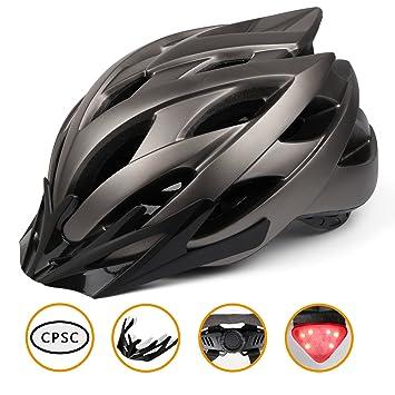 Kinglead - Casco de Bicicleta con luz LED, Protección de Seguridad Ajustable, Ligero, Casco para Bicicleta, Ciclismo, Ciclismo, Patinete BMX, Montaña, ...