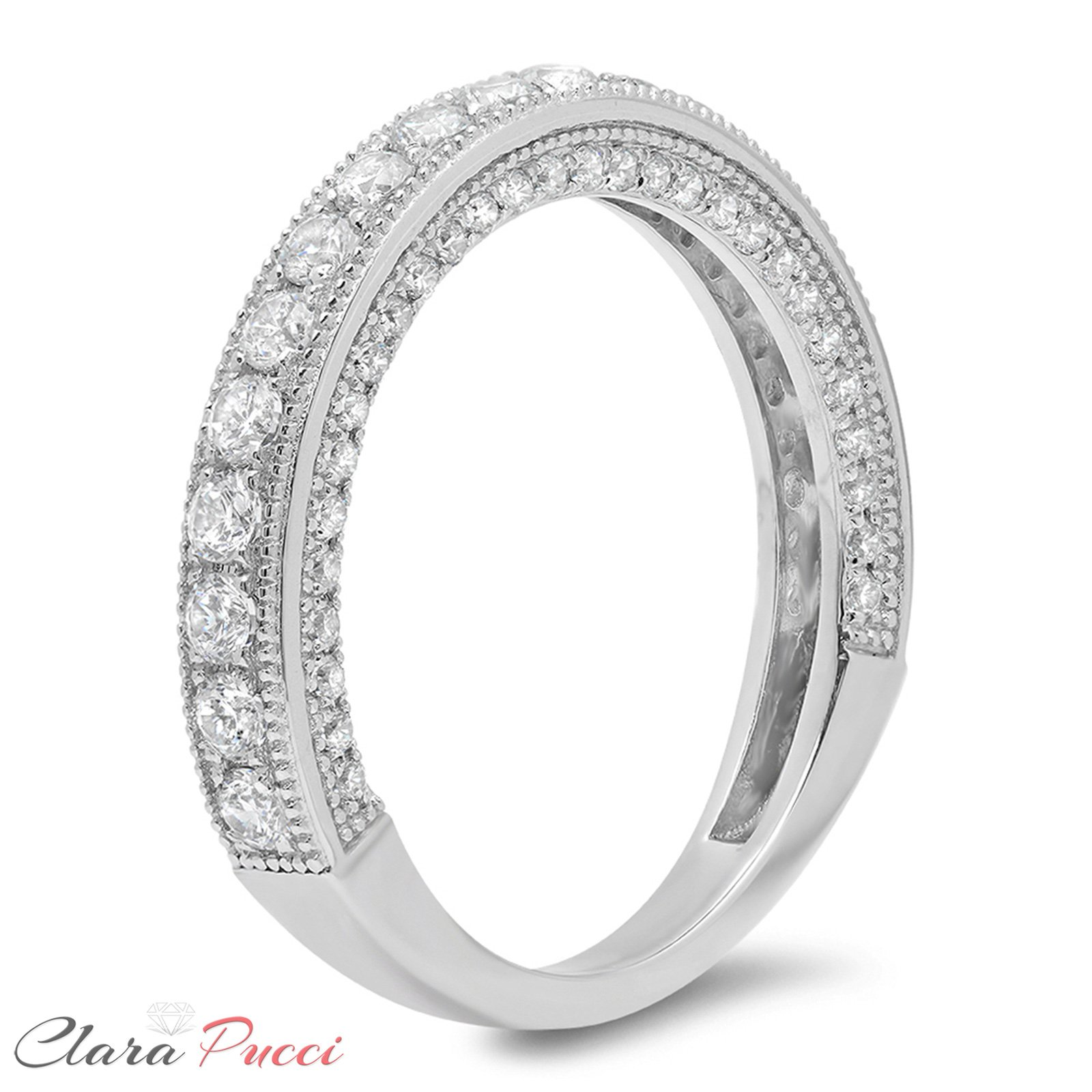 1.10 CT Round Cut CZ Pave Set Wedding Bridal Eternity Engagement Band Ring 14k White Gold, Size 8 by Clara Pucci (Image #2)