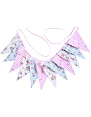 Whaline Double Sided Fabric Bunting Vintage Style Chic Floral Triangle Garlands for Wedding Party Birthday Ceremonies Home Decoration (Floral Style)