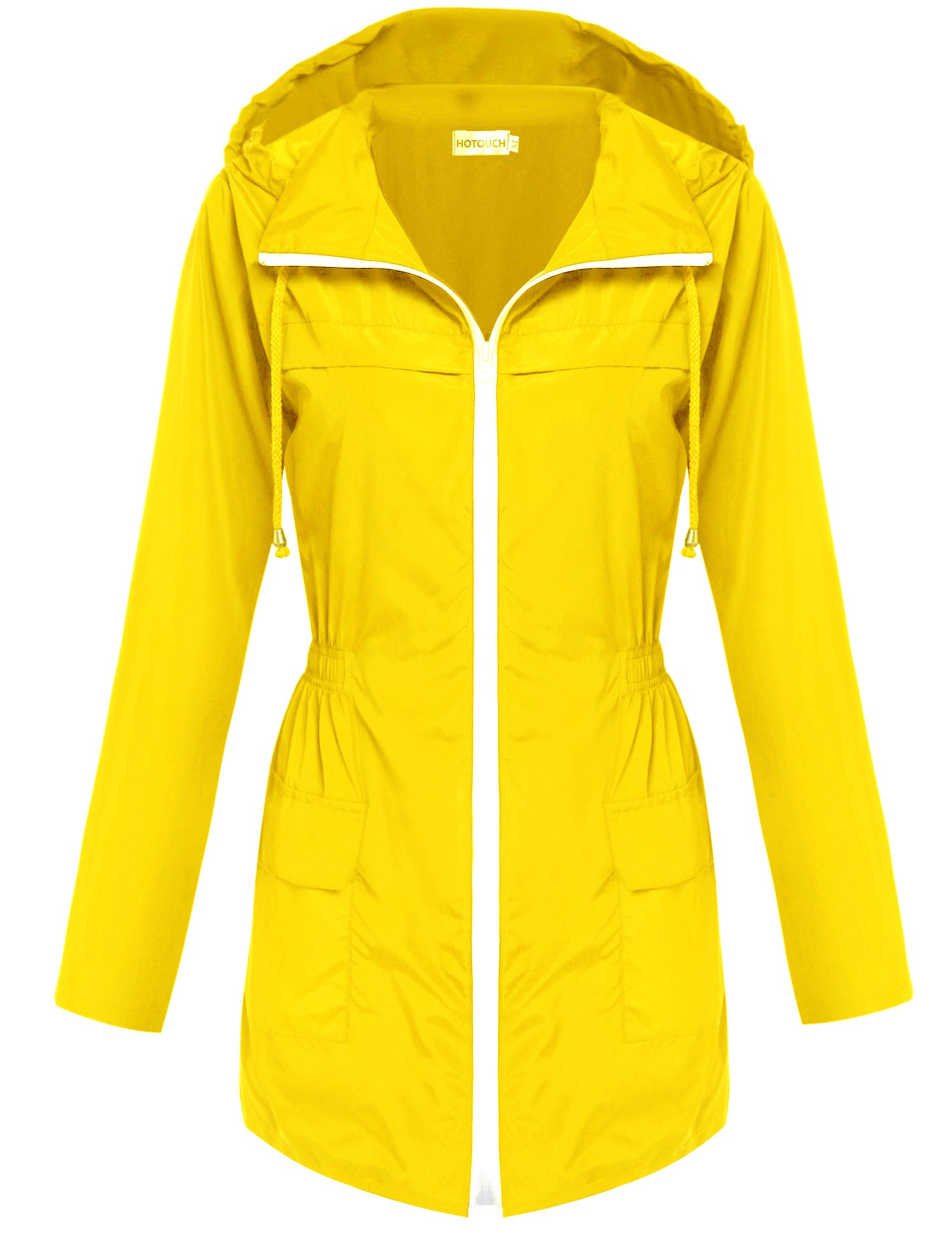 Hotouch Womens' Waterproof Lightweight Raincoat Hooded Outdoor Hiking Long Rain Jacket Yellow S by Hotouch (Image #1)
