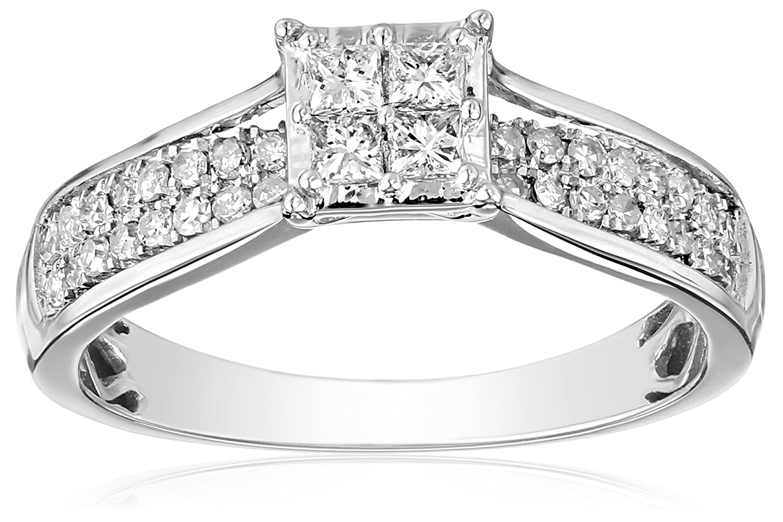 IGI Certified 14k White Gold Princess-Cut Diamond Composite Bridal Ring (1/2cttw, H-I Color, I1-I2 Clarity)