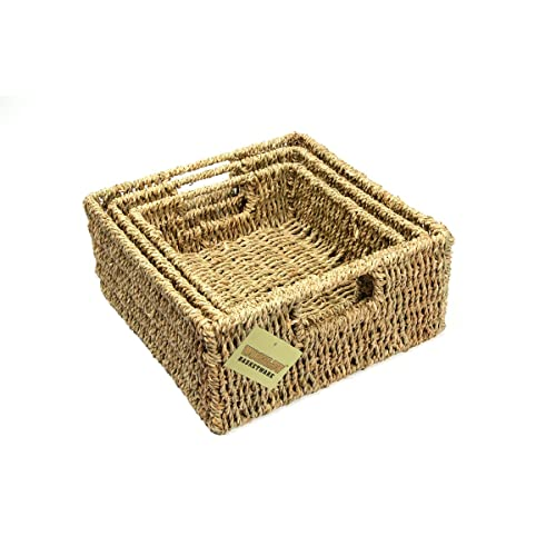 Woodluv Brand New Set Of 3 Square Storage Seagrass Basket (E01 102SETOF3)