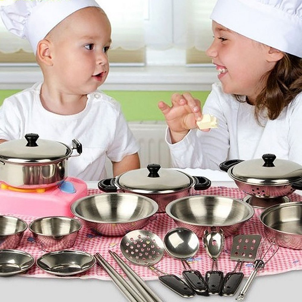 Fashionclubs 20pcs Children Metal Pots and Pans Pretend Play Kitchen Cookware Set Toys by Fashionclubs