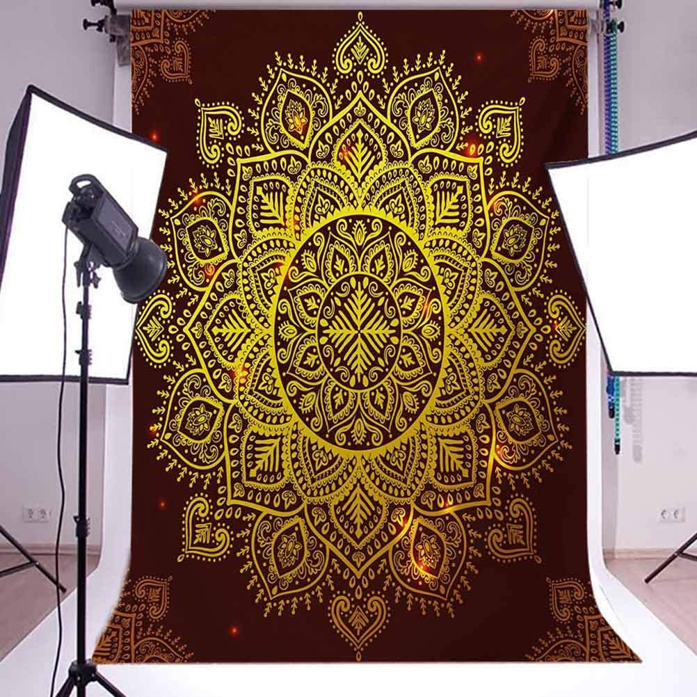 10x12 FT Backdrop Photographers,Ornamental Snowflake Floral Traditional n Oriental Graphic Artwork Background for Baby Shower Birthday Wedding Bridal Shower Party Decoration Photo Studio Yellow Brown
