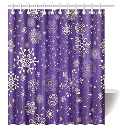 InterestPrint Winter Decorations Shower Curtain Pattern With Gold Snowflakes And Stars Violet Purple Fabric