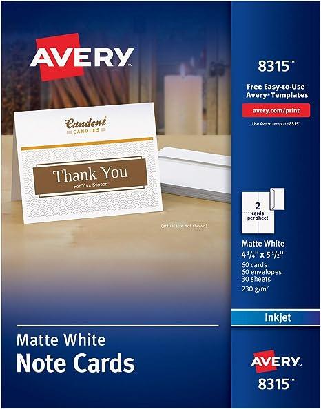 Amazon.com: Avery 8315 - Tarjetas de notas imprimibles para ...
