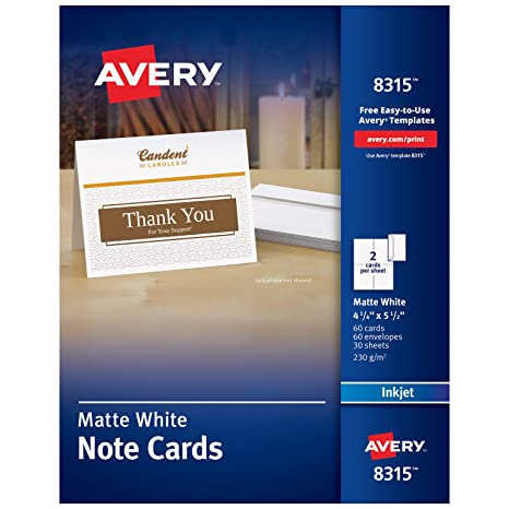 photo relating to Printable Blank Note Cards named Avery Printable Take note Playing cards, Inkjet Printers, 60 Playing cards and Envelopes, 4.25 x 5.5, Heavyweight (8315), White
