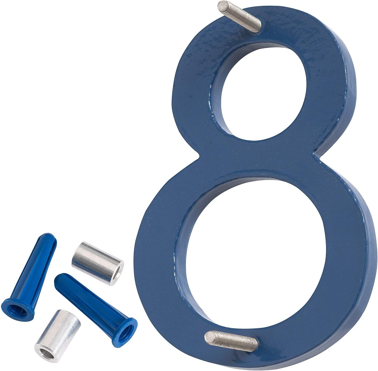 Montague Metal Products MHN-10-F-SB2-1 Solid Brushed Aluminum Modern Floating Address House Numbers Satin Nickel Powder Coated Sea Blue Two-Tone 10