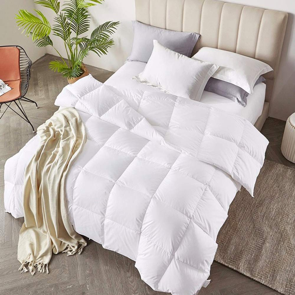 C&W All-Season White Down Alternative Quilted Comforter - Corner Duvet Tabs - Hypoallergenic - Plush Microfiber Fill - Machine Washable - Duvet Insert/Comforter - King 104 X 90 inch BNTC FBA765951056802