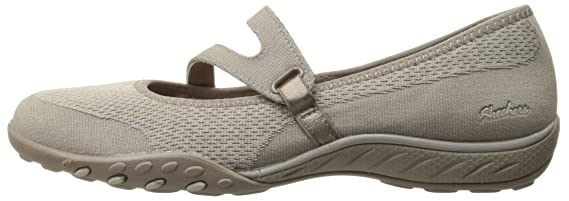 Skechers Sport Women's Breathe Easy Lucky Lady Mary Jane Flat, Taupe Knit MeshLight Taupe Trim