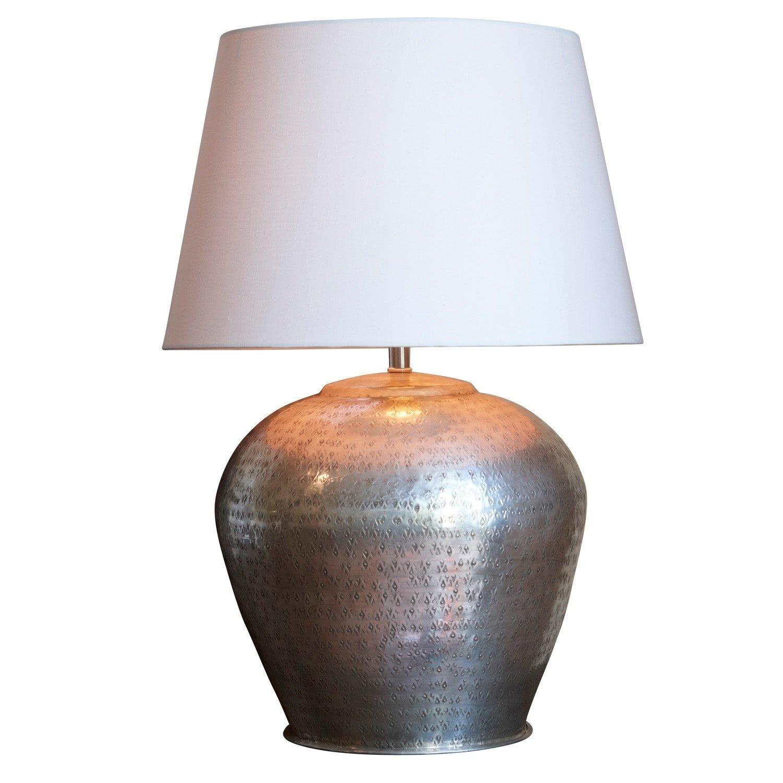 LOBERON Tischlampe Penelope, Messing, H Ø ca. 50 30 cm, antiksilber creme, Energieeffizienzklassen A++ bis E