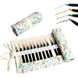 BUTEFO 水彩筆 カラー筆ペン 水彩ペン 子供 大人 塗り絵 絵画 学習 事務用20色セット 筆箱付き (グリーン)