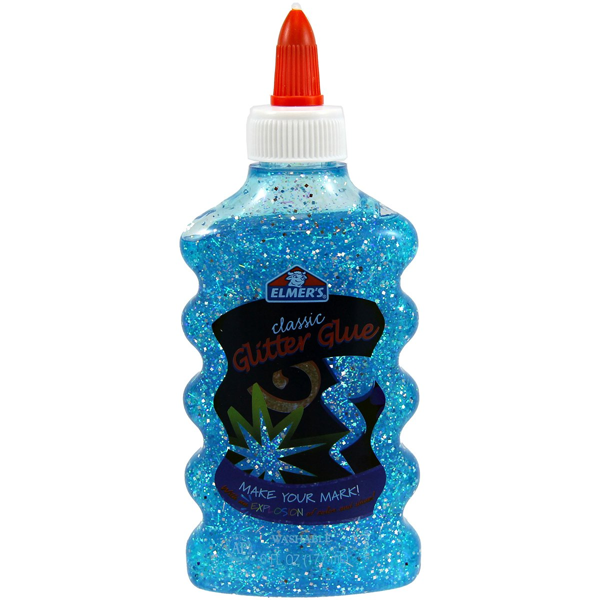 Elmer's Liquid Glitter Glue, Washable, Blue, 6 Ounces, 1 Count - Great For Making Slime