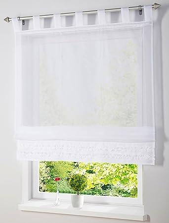 Amazon.de: Raffrollo mit Schlaufen Rollos Weiß Transparent Voile ...