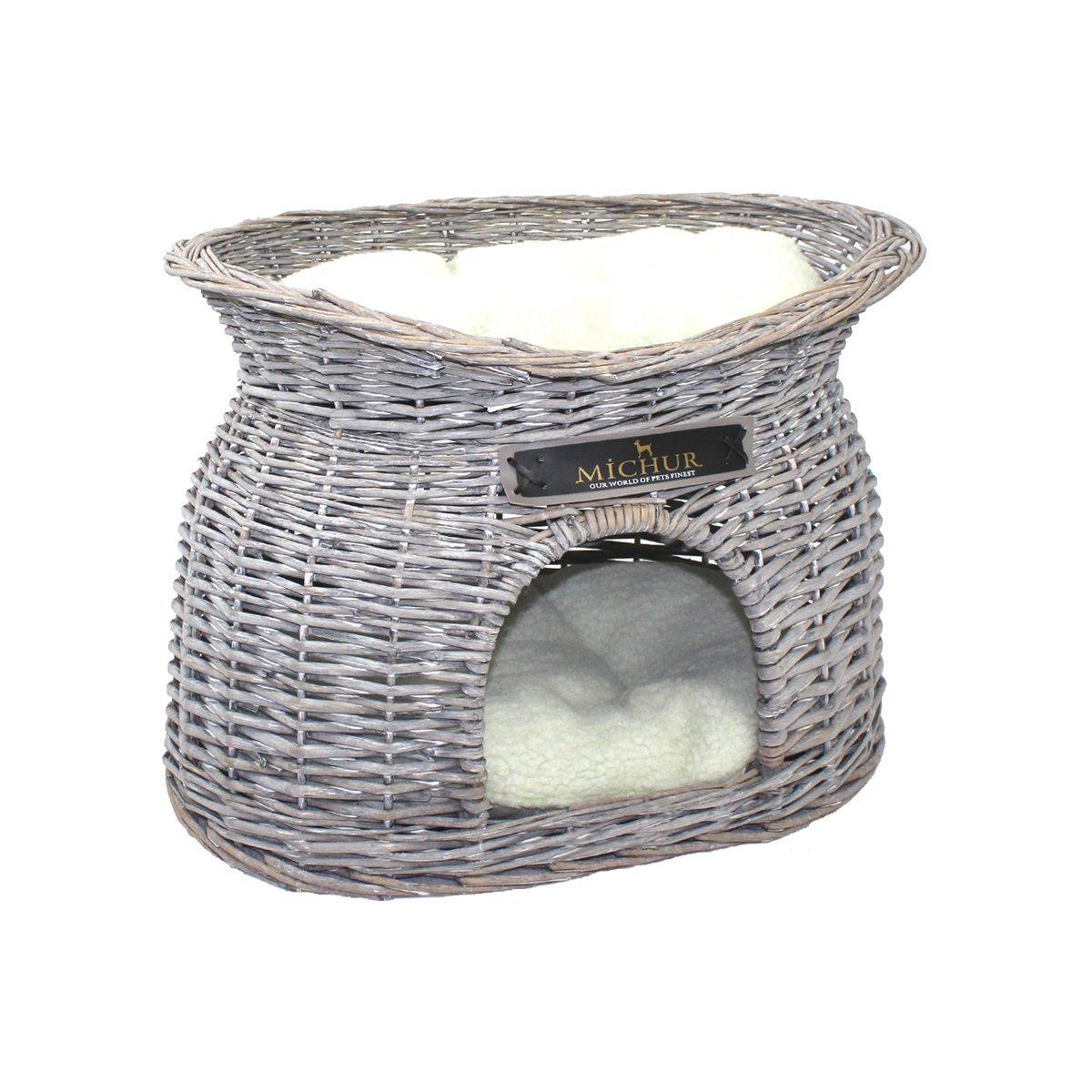 Liegefl/äche ca. 40x28cm rattan cesta igloo in vimini imbottita per gatto 55x39x43cm divanetto MICHUR RICHY grigio ca