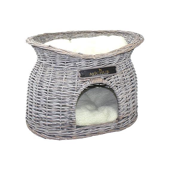 sauce cesta del gato cama del gato cesta del perro gris cueva MICHUR RICHY Cama del perro mimbre