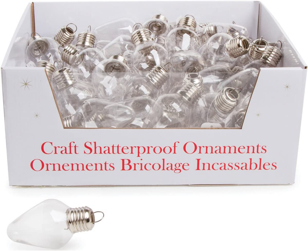 Darice Set of 75 Acrylic Fillable Light Bulb Shaped Ornaments for Creating Holiday Decorations and Christmas Ornaments