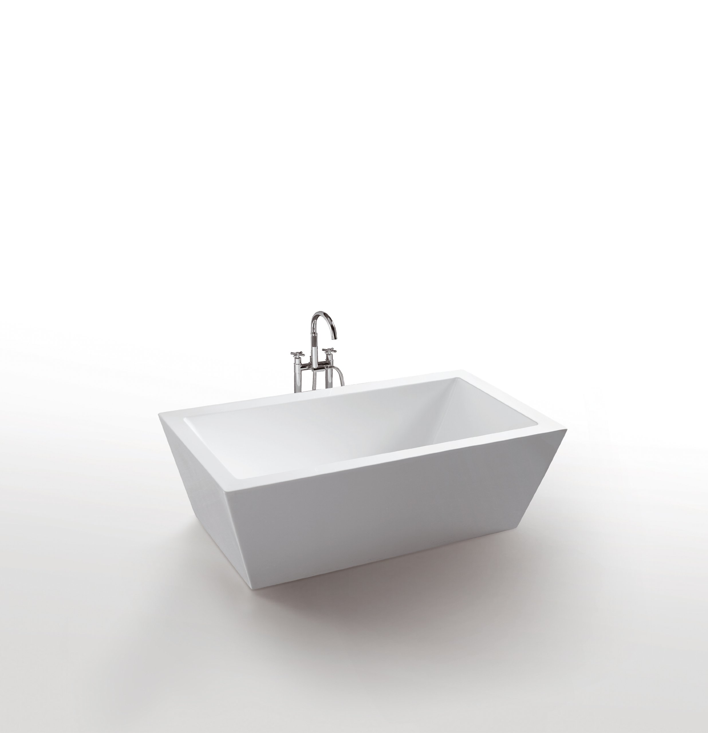 Virtu USA VTU-1367 67-Inch by 27.5-Inch Freestanding Soaking Tub with Universal Drain from The Serenity Collection, White Finish