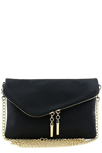 Envelope Wristlet Clutch Crossbody Bag with Chain Strap Black ...