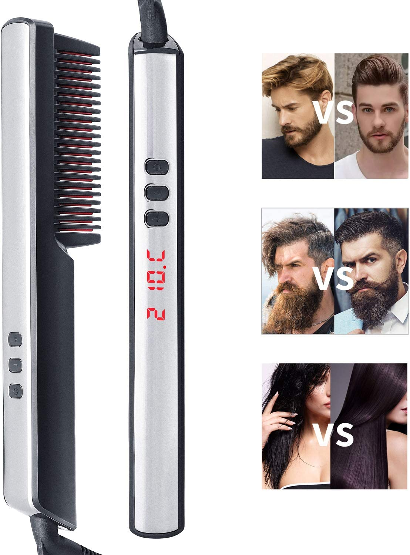 Alisador barba, Ato Bea Cepillo Alisador de Pelo 3 en 1 Cepillo Para Barba LCD 6 Control de Temperatura, Cerámica de Alta Temperatura Contra Quemaduras, Cepillo de Parada Automática Para Barba