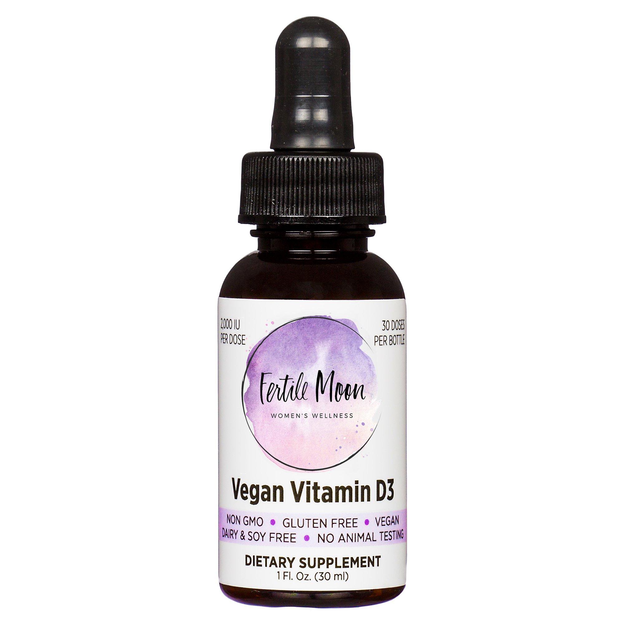Liquid Vitamin D3 Vegan 2000 IU Per Dose by Fertile Moon® - Premium Plant-Based Vitamin D3 from Lichen - Non-GMO, No Gluten, Dairy, or Soy - 30 Doses per Bottle by Fertile Moon