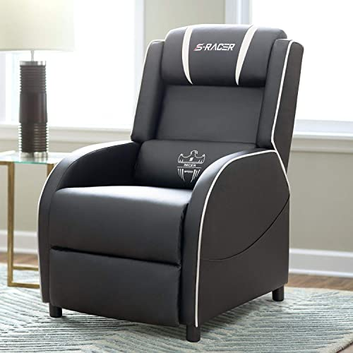 Homall Gaming Recliner Chair Single Living Room Sofa Recliner PU Leather Recliner Seat Home Theater Seating White